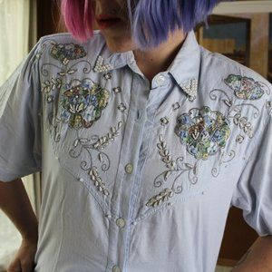 Western Pearl Embroidered Blue Jean Button Up